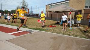 Mert takes off at the Running Long Jump